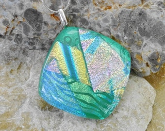 Green Square Fused Glass Pendant, Dichroic Fused Glass Pendant, Mint Green Glass Pendant, Green Glass Necklace, Summer Jewelry