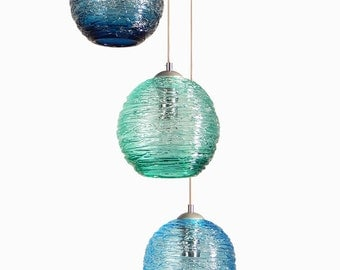 Spun Glass Cluster Pendant Chandelier Hanging Light Hand Blown Pendants and Chandeliers Lighting made in USA