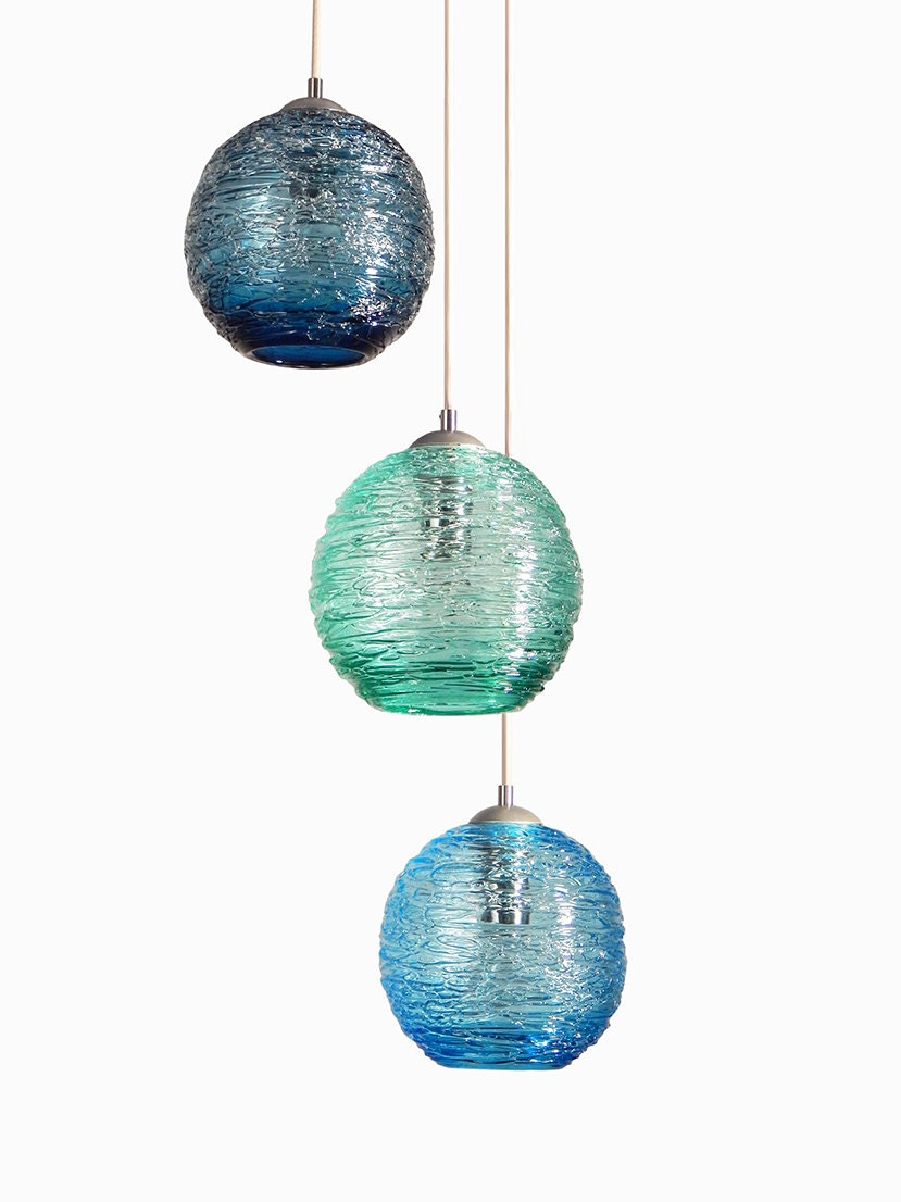 Spun Glass Cluster Pendant Chandelier Hanging Light Hand Blown