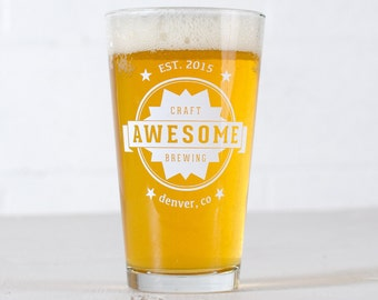 "CUSTOMIZED PINT GLASSES - ""Awesome"" design screen printed 16oz. beer glass"