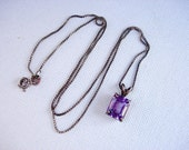Pretty Vintage Sterling Silver and Amethyst Semiprecious Stone Pendant Necklace