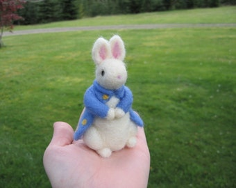 Needle Felted White Rabbit Mr. Tully the Gentleman  Figure