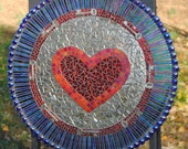 Mosaic Panel Stained Glass Mixed Media-Red, Heart, Keys