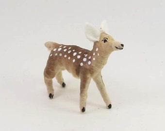 Vintage Inspired Spun Cotton Fawn Ornament/Figure