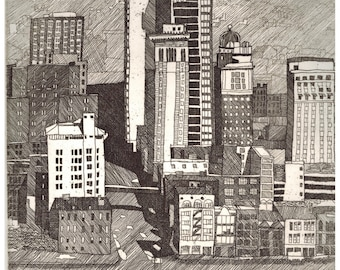DOWNTOWN PITTSBURGH original hand printed zinc plate line etching