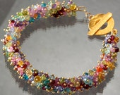 50% OFF - Multi Stone Cluster Bangle Style 24K Gold Vermeil Bracelet