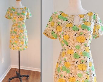 SALE 1960s Yellow and Green Floral Print Mini Dress with Keyhole Neckline