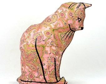decorative pillow, cat pillow, animal pillow, cat profile shaped large pillow, kitty shaped pink gold paisley fabric