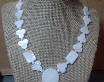 Pearl shell ncklace mixed shapes MOP