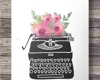 Watercolor flowers Vintage typewriter print  - Printable typewriter wall art - watercolor digital print