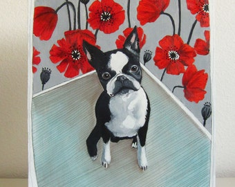Painting - Oil Painting - Original Painting - Original Art - Boston Terrier Portrait - Boston Terrier Art - Dog Painting - Chloe