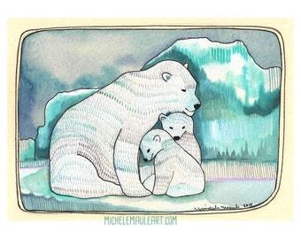 Art - Art Print - Polar Bear Print - Polar Bear Illustration - Polar Bear Art Print - Arctic Art - Bear Family - 8x10 Print - Polar Bears