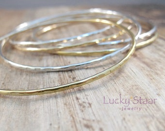 Gold and Silver Bangles - Set of 6 Textured Stacking Gold Filled And Sterling Silver Lin-Lin Bangles