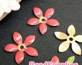 FG-EX-08001CP- Nickel Free, Lead Free, Color epoxy, 5-leaf beads cap, coral pink 6 pcs