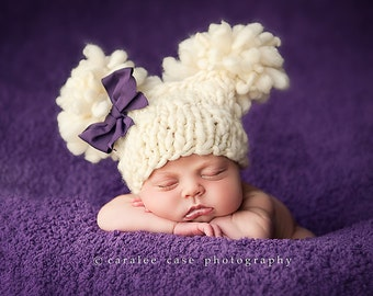 Pure & Natural  Double Fluff Baby Hat Photography Prop Ready to Ship