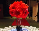 """12 DIY,9"""", Tissue Paper Poppies, Anemone Tree Peonies, Anemoes,Daisies, Poppies,  Gerberas for Pews, Chairs, with ties"""