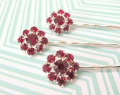 Ruby Rhinestones - Sparkling Red Rhinestone Flower Hair Pin