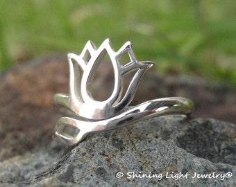 Lotus Flower Ring - Sterling Silver