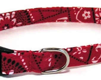 XS Dog Collar - Red Bandana - Extra Small, Teacup, Miniature - Cute, Fancy and Handmade