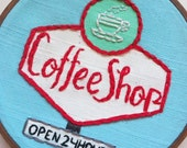 Embroidered Art Hoop - Coffee Shop