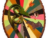 Original Collage & Painting on Wood-Snake vs. Bat
