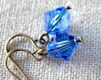 Sapphire Blue Diamond Swarovski Dangles