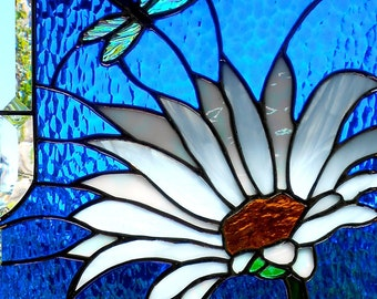 Daisy with Dragonfly Stained Glass Window Panel