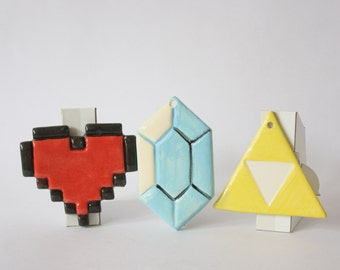 Legend of Zelda Triforce 8bit Heart and Rupie Ornament SET Fandom Art Geek, Link, NES, Vintage Gamer