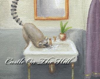 Lemur painting 4 x 6 - Splash