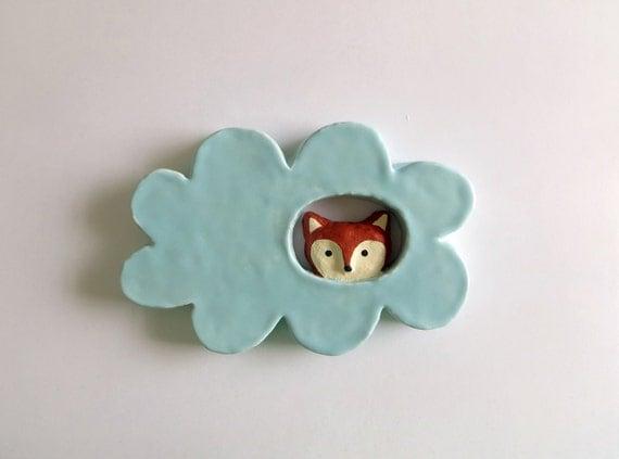 Fox in a cloud ceramic wall hanging - Ceramique murale autocollante ...