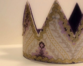 Fabric Crown, Ivory, Purple and Gold Fabric and Felt Crown with Velcro Closure by Whimsy Wendy