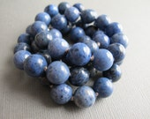 Dumortierite Knotted Necklace, Natural Gemstone Beaded Necklace