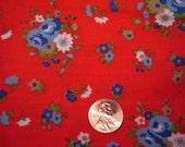 QUARTER YARD vintage RED floral fabric