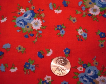 QUARTER YARD vintage RED floral fabric