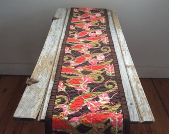 quilted table runner --  retro floral  --  table runner