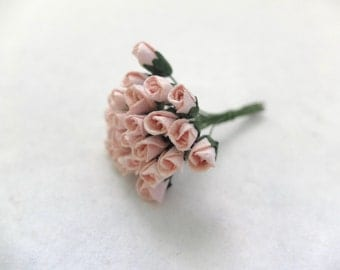 25 6mm mulberry paper peachy pink rose buds - pink paper rose