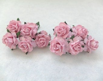 "1"" pink paper roses - pink paper flowers"