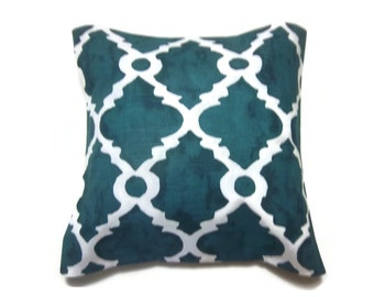 Decorative Pillow Cover Blue White Damask Geometric Design Same Fabric Front/BackToss Throw Accent 18x18 inch x