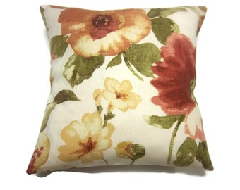 Decorative Pillow Cover Bold Floral Design Burnt Orange Pale Yellow Green Natural Red Same Fabric Front/Back 18x18 inch x