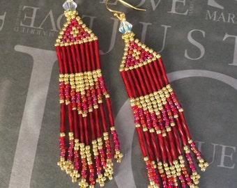 Handmade Bright Red and Gold Beaded Earrings Long Fringe Earrings