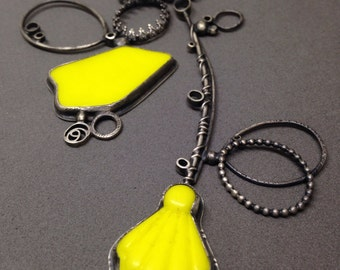 neon yellow large sculptural necklace sculpture wearable art modern found object necklace oxidized silver