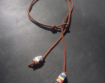 Lesbian Pride Necklace Soft Butch Femme Rainbow Leather Fetish Jewelry