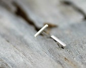 Thin line earrings - silver dash studs - sterling silver staple earrings