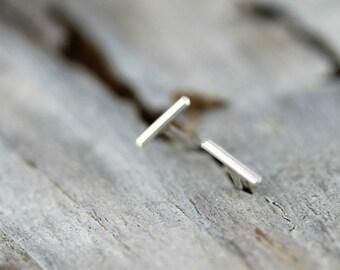 Thin line earrings - silver dash studs - sterling silver staple earrings
