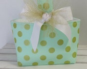 Easter Fabric Candy Basket Bin Bucket Egg Hunt Storage Container - Gold Polka Dots on Mint Green Fabric