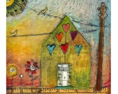 Hand-embellished print on wood - House Ruled By Love