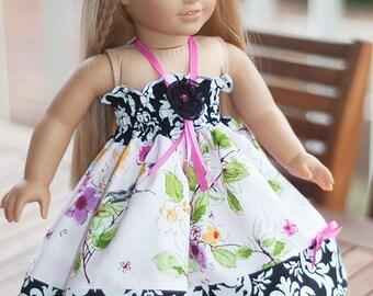 "American Girl dress 18"" doll Clothes  pink doll dress bird damask black white Easter doll dress, tea party dress"