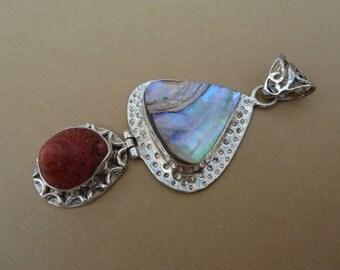 Paua Shell Pendant, Sterling Silver Pendant, Handmade Pendant, Gemstone Pendant, Hinged Pendant, Unique Pendant - One Pendant