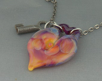 Fucshia Purple Boro Glass Lock Necklace Vintage skeleton Key Lampwork Heart Pendant Key to My Heart