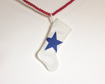 Eco Holiday Sail Stocking - Small Stocking with Blue Star